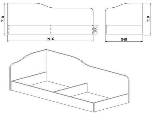 Ъглово легло Сити 204 - схема