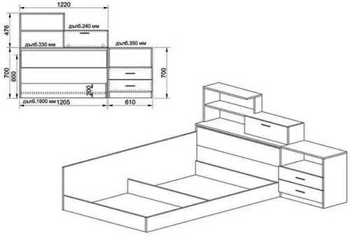Спален комплект Сити 7008 - схема