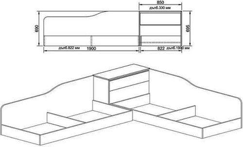Ъглово легло 2001 - схема