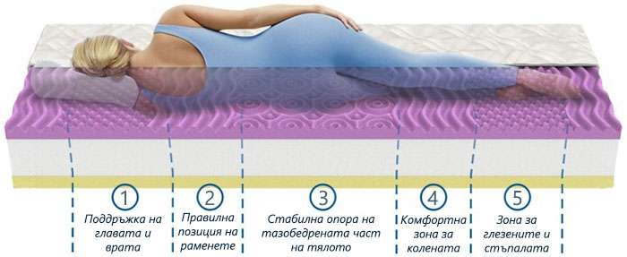 Матрак Lavender Uno Memory - зони на комфорт