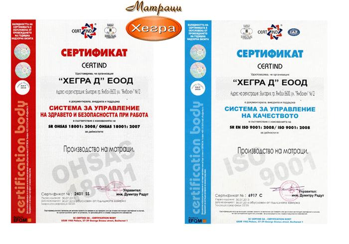 Матраци Хегра - сертификати